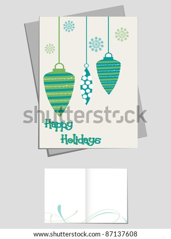vector snowflakes, hanging lamp concept happy holidays greeting card & invitation card