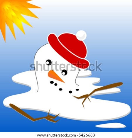 Vector snowman series, melting snowman.