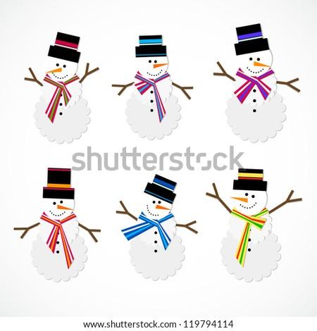 vector snowman set