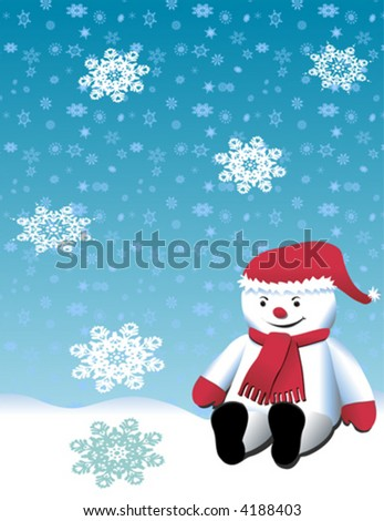 Vector Snowman sitting on a hillside. Detailed snowflakes with blue background.