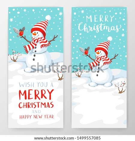 Vector snowman with bird. Snowman greeting. Cute Christmas greeting card with snowman and bullfinch. Greeting card with snowmen and snowfall. Illustration for Christmas design.