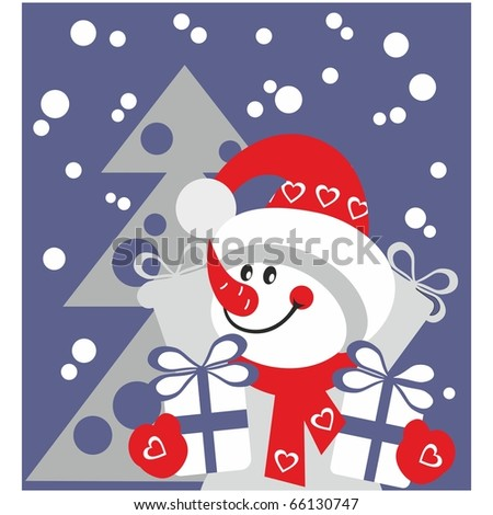 Vector. Snowman  with gift in color 21