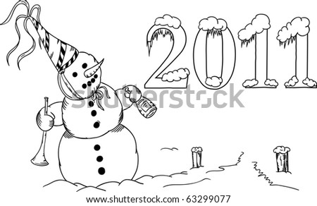 vector - Snowman with trumpet celebrates New Year