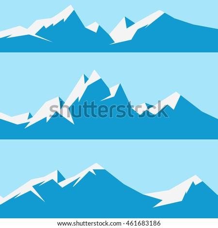 vector snowy mountains set