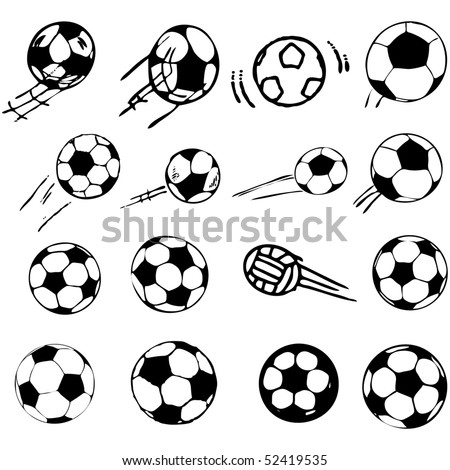 vector soccer ball set comic cartoon illustration - stock vector