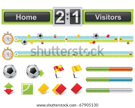 Vector soccer match timeline with scoreboard