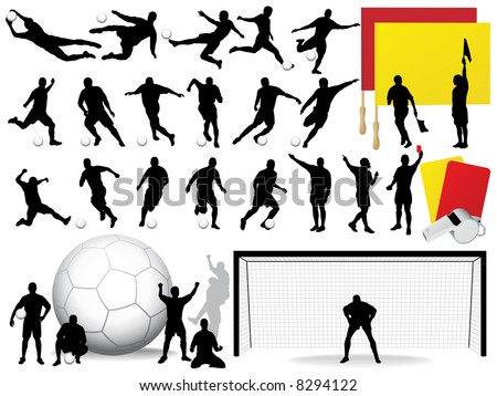 Vector Soccer Players Silhouettes (High Detail).