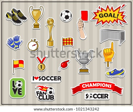 Vector soccer stickers set. All elements are isolated.