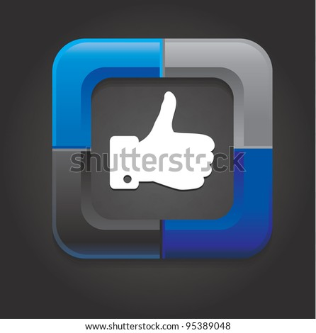 vector social media button with hand on black background