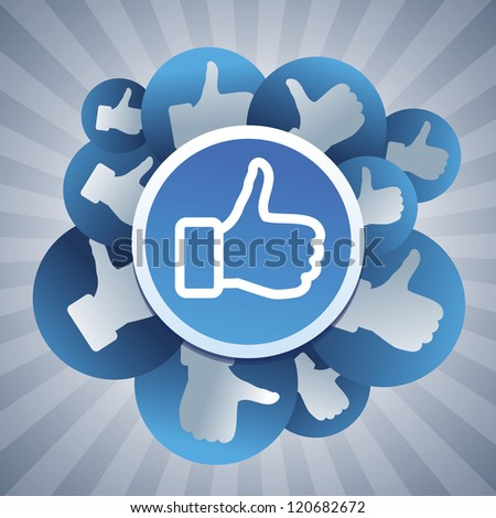 Vector social media concept - stickers with like signs