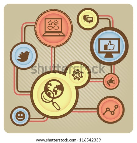 Vector social media concept with internet icons - illustration in retro style