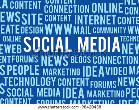vector social media concept words about internet