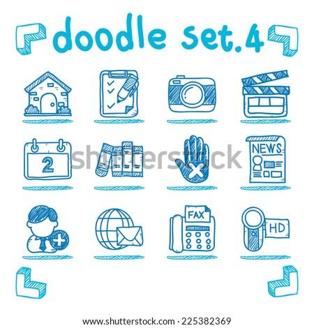 Vector social media icon set doodle style
