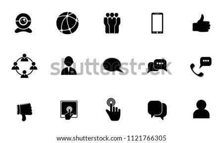 Vector social media icons set. communication, internet, computer network and mobile icons