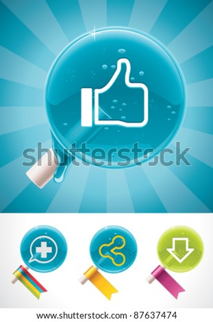 Vector social media lollipop candies icon set