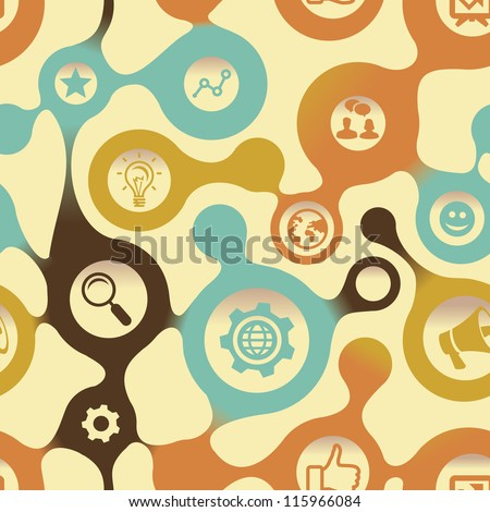 Vector social media pattern with internet icons - abstract background