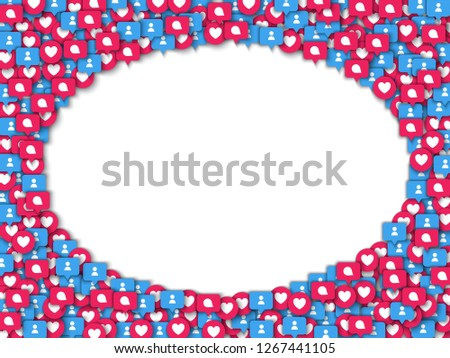 Vector social network background with red like heart, blue users and chat bubble icons in red circle circle frame for live stream video chat. Web buttons for internet marketing campaign posters