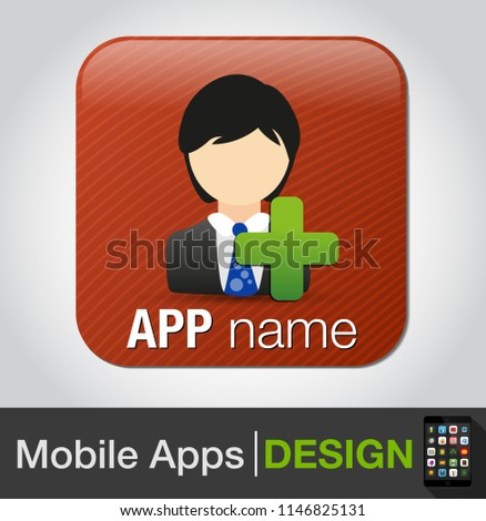 Vector social network button. Users icon design element - add business user