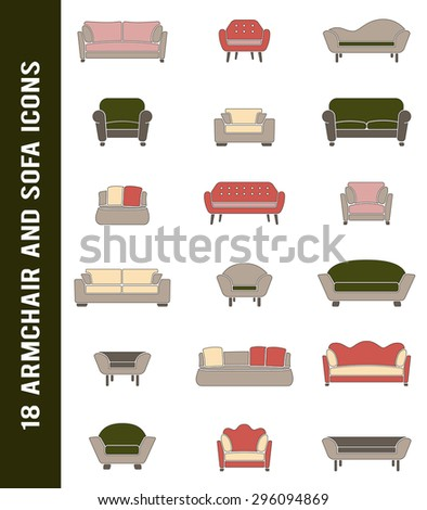 vector sofa and armchair icons