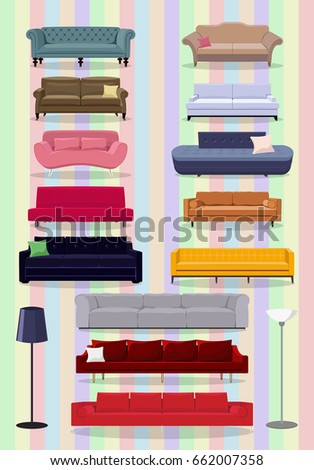 vector sofa couch furniture set