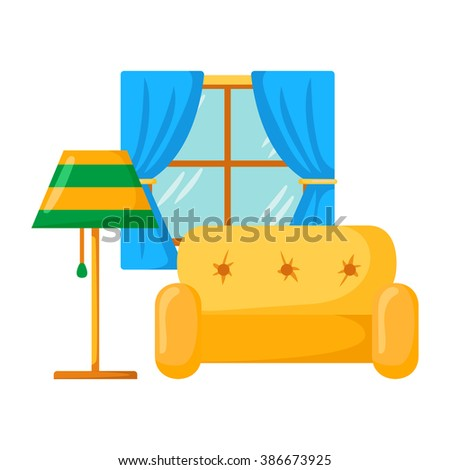 Vector Sofa Interior Cartoon Living Room Interior With Sofa Lamp
