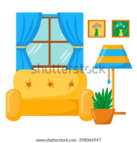 Vector sofa interior cartoon living room interior with for Window design cartoon