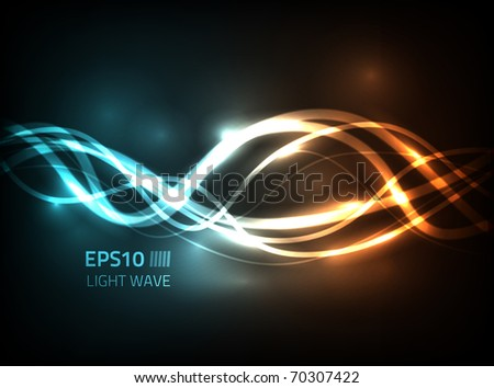Vector soft energy lines flow against dark background