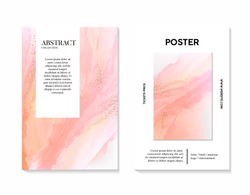 Vector soft rose gold poster, greeting card, wedding invitation set with liguid flows background. Pink watercolor splashes with golden  foil marble decoration luxury design.