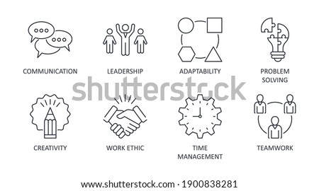 Vector soft skills icons. Editable stroke. Interpersonal attributes symbols you need to succeed in the workplace. Communication teamwork adaptability problem solving creativity work ethic time managem Photo stock ©