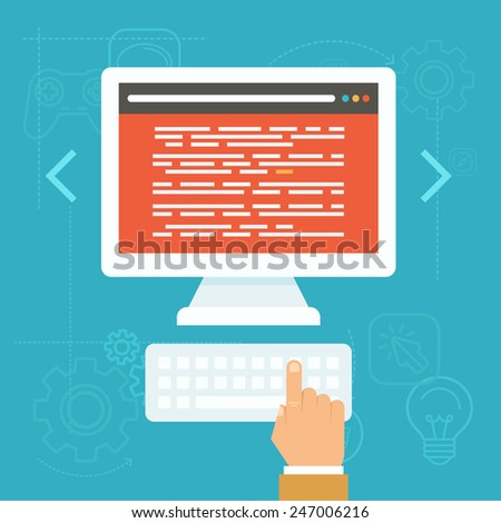 Vector software testing concept in flat style source Vector image software