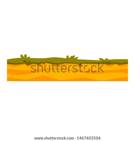 Vector soil ground layers with grass on sand, underground texture. Subterranean dessert landscape for game map design. Layered earth surface, geological landscape.