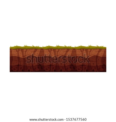 Vector soil ground layers with grass, underground texture. Subterranean landscape for game map design. Layered earth surface, geological natural clay.