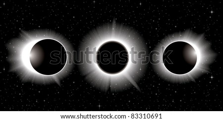 vector solar eclipse  three