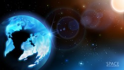 Vector. Solar system. Realistic 3D planet Earth in the rays of sunlight. Cosmic nebulae, infinity, stars and the Sun. Global social network.  Abstract blue background. Bokeh.