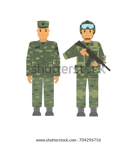 vector soldier set man with