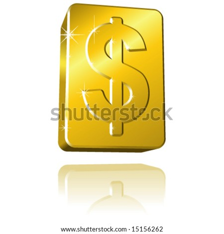 Vector Solid Gold Dollar Sign Bar with Sparkle & Reflection