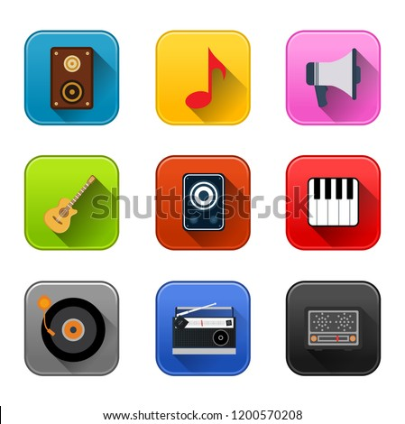 vector sound music icons - audio illustrations, music equipment and instruments