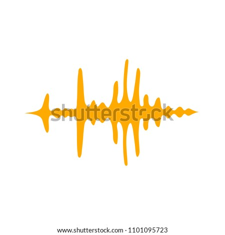 vector sound volume wave illustration, audio music icon