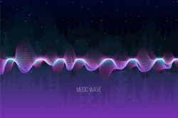 Vector sound wave from dots for chillout music on forest background. Vector illustration
