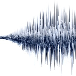 Vector sound wave. Synthesis and electronic sound hearing. Abstract technology for creating tunes and ringtones. Audio visualization with the effect of increasing.