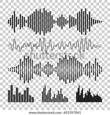 Vector sound waveforms icon. Sound waves and musical pulse vector illustration on isolated background.