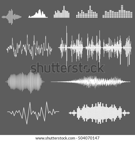 Vector Sound Waveforms. Sound waves and musical pulse.