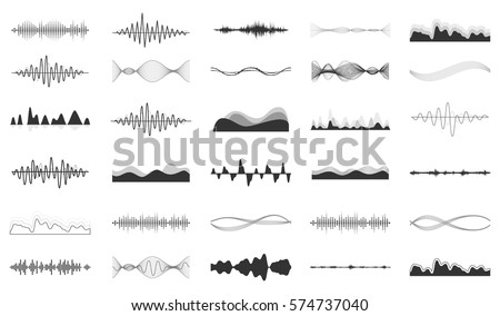Shutterstock Vector sound waves set. Audio Player. Audio equalizer technology, pulse musical. Vector illustration.