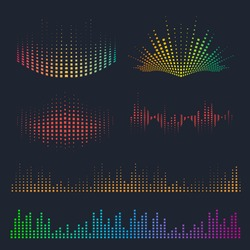 Vector sound waves set. Music colorful elements for your design.