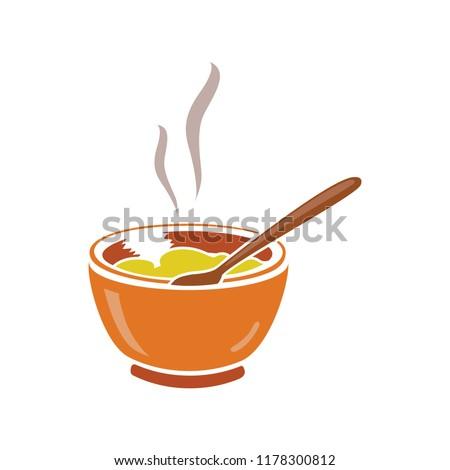 vector soup bowl illustration - restaurant meal plate