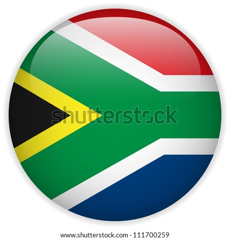 Vector - South Africa Flag Glossy Button