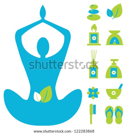 Vector : Spa Set Icon for Health and Wellness Business Isolated On White Background - stock vector