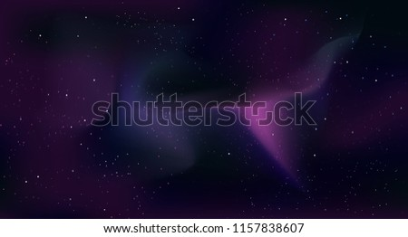 Vector space background with copy space. Beautiful realistic template with Stars and colorfu galaxy in Outer space.