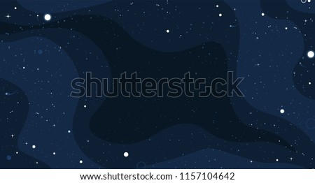 Vector space background with copy space. Cute flat style template with Stars in Outer space.