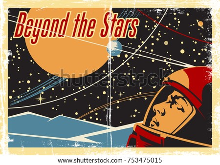 Vector Space Poster. Stylized under the Old Soviet Space Propaganda